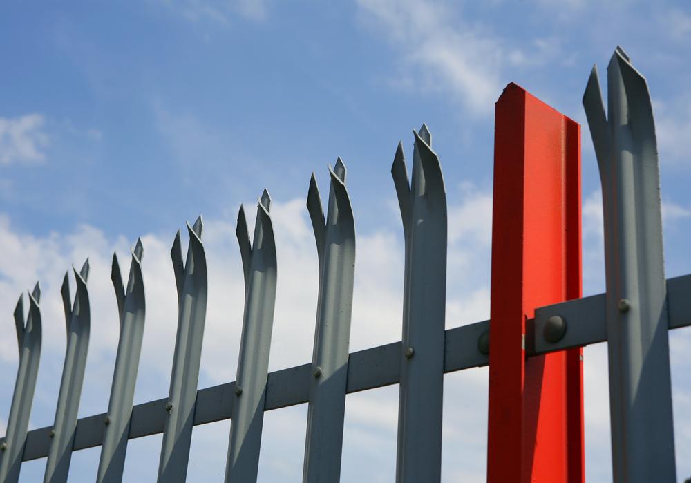 Spiked top metal palisade security fencing